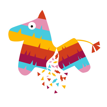 Illustration for Fiesta horse broken pinata illustration for kids play cartoon vector illustration mexican traditional - Royalty Free Image
