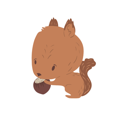 Forest animal vector with isolated cartooning little squirrel. Good as print card sticker for kids accesories