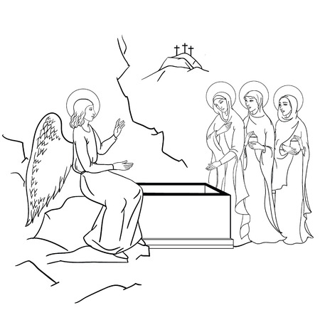 Illustration pour scene of Mary Magdalene  became the first person to see Jesus after his resurrection - image libre de droit