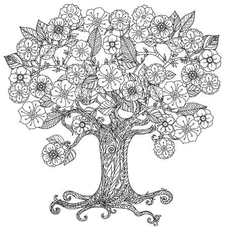 Illustration for For coloring book  in zentangle style. Floral ornament. Art mandala style.  Black and white background. - Royalty Free Image