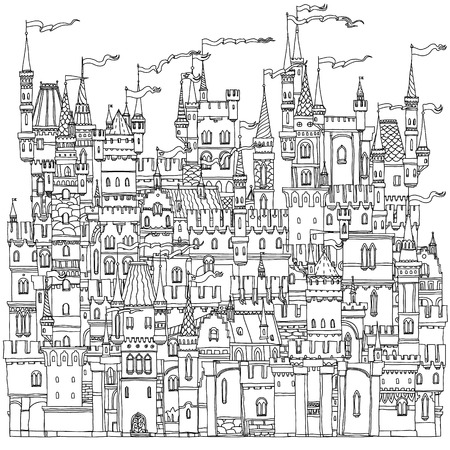Illustrazione per Decorative ornamental castle from a fairy tale. Vector illustration. The best for your design, textiles, posters, coloring book - Immagini Royalty Free