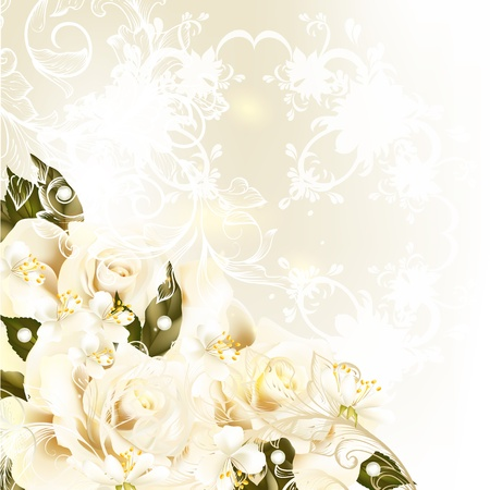 Photo pour Cute wedding background with roses, lace and place for text - image libre de droit