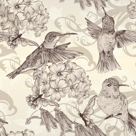 Foto de Vector seamless wallpaper pattern with birds and flowers - Imagen libre de derechos