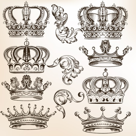 Illustration for set of  crowns for your heraldic design - Royalty Free Image