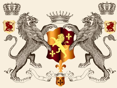 Illustration for  heraldic illustration in vintage style with shield, crown and lion for design - Royalty Free Image