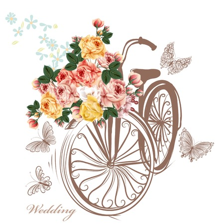 Photo pour Bicycle with basket fully of rose flowers and butterflies around it - image libre de droit