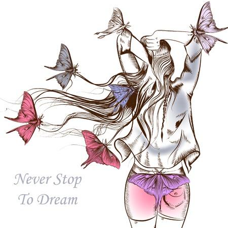 Ilustración de Fashion vector illustration butterflies and girl with a very long hair staying back - Imagen libre de derechos