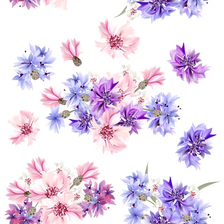 Ilustración de Floral seamless vector pattern with flowers in watercolor style - Imagen libre de derechos