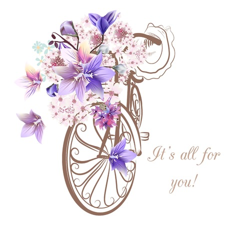 Illustration pour Bicycle with basket fully of  flowers - image libre de droit