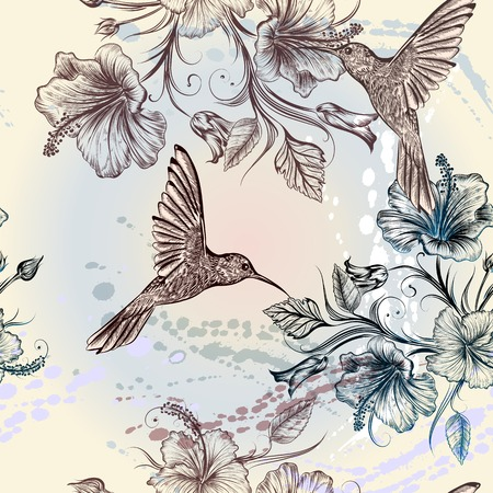 Illustration pour Seamless wallpaper pattern with hummingbirds and hibiscus flowers - image libre de droit
