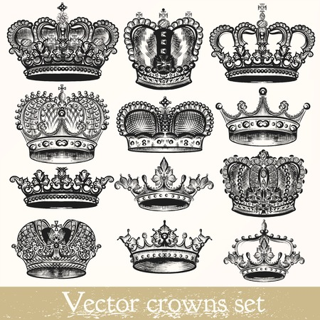 Illustration for Collection of vector hand drawn crowns in vintage style - Royalty Free Image