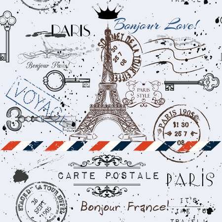 Illustration pour Vector seamless background with flower Eiffel tower and post stamps imitation of vintage postcard in grunge style - image libre de droit
