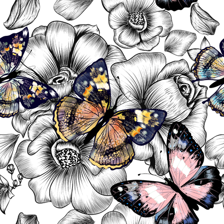 Illustration pour Floral seamless wallpaper pattern with engraved hand drawn flowers and colorful butterflies - image libre de droit