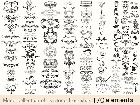 Photo for A collection of vintage style flourishes 170 elements for design. Mega vector set - Royalty Free Image
