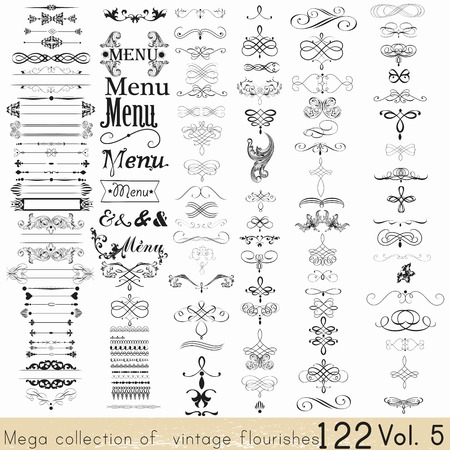 Illustration pour Collection of vector calligraphic elements and page decorations - image libre de droit