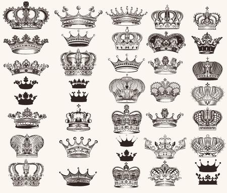 Illustration for Mega collection or set of vector high detailed crowns for design - Royalty Free Image