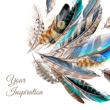 Illustration pour Fashion background with blue white and brown  feathers in realistic style symbol of inspiration - image libre de droit