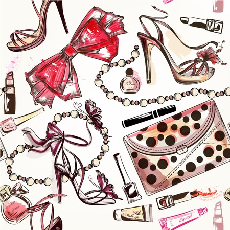 Illustration pour Fashion vector seamless background with pink hand drawn female shoes lipstick perfume and other cosmetics - image libre de droit