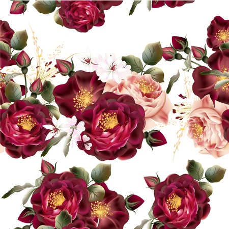Illustration pour Beautiful seamless wallpaper pattern with realistic vector roses in vintage style - image libre de droit