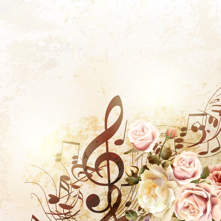 Illustration pour Grunge vector background with music notes and rose flowers in vintage style - image libre de droit