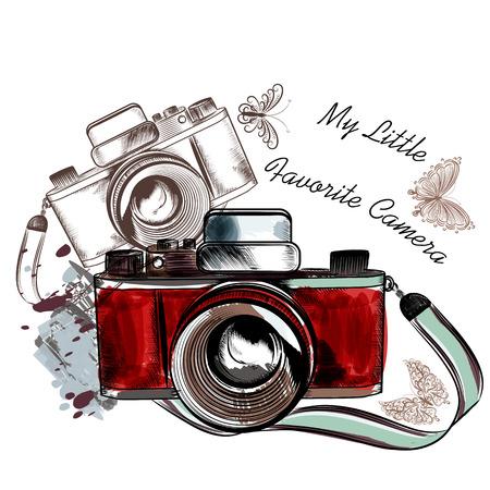 Illustration pour Vintage  camera with butterflies my favorite camera - image libre de droit