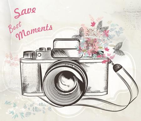 Photo pour Illustration with vintage camera flowers and butterflies save best moments - image libre de droit