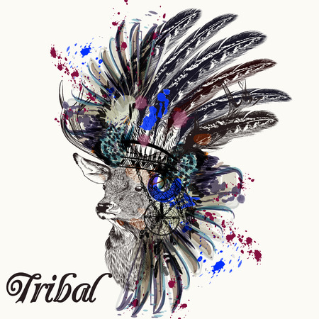 Ethnic fashion illustration with Indian head dress deer and ink spots boho style. Be wild