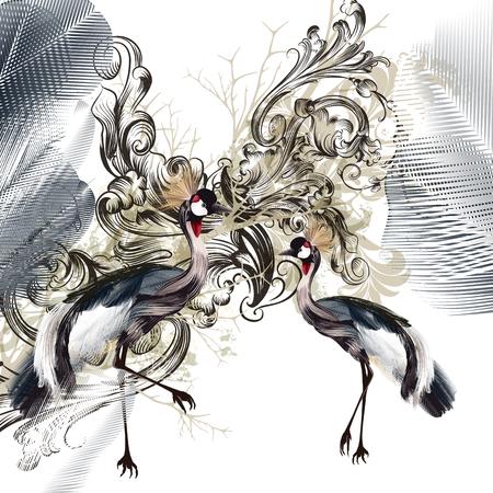 Ilustración de Elegant illustration with birds and swirls - Imagen libre de derechos