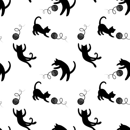 Ilustración de Monochrome seamless pattern with playing cats. - Imagen libre de derechos