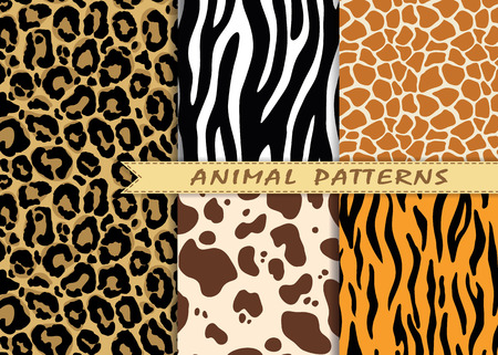 Illustration pour seamless patterns set with animal skin texture - image libre de droit