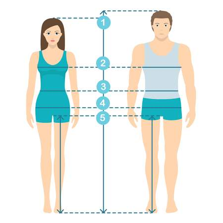 Illustrazione per Vector illustration of man and women in full length with measurement lines of body parameters . Man and women sizes measurements. Human body measurements and proportions. Flat design. - Immagini Royalty Free