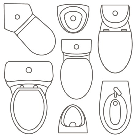 Ilustración de Toilet equipment top view collection for interior design.Vector contour illustration. Set of different toilet sinks types. - Imagen libre de derechos