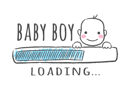 Ilustración de Progress bar with inscription - Baby boy is loading and kid face in sketchy style. Vector illustration for t-shirt design, poster, card, baby shower decoration - Imagen libre de derechos