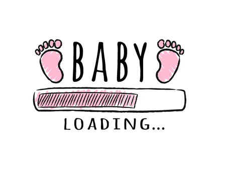 Ilustración de Progress bar with inscription - Baby  loading and kid footprints in sketchy style. Vector illustration for t-shirt design, poster, card, baby shower decoration. - Imagen libre de derechos