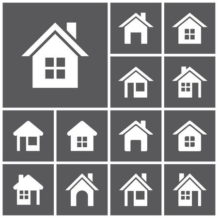 Ilustración de Set of flat simple web icons (home button, homepage, houses, real estate ), vector illustration - Imagen libre de derechos