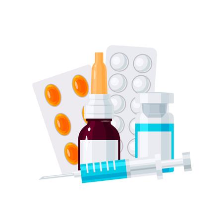 Ilustración de Medicine vector concept. Nasal drops, syringe and pills in blisters in flat style on white background - Imagen libre de derechos