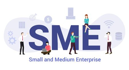 Illustrazione per sme small and medium enterprise concept with big word or text and team people with modern flat style - vector illustration - Immagini Royalty Free