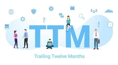 Ilustración de ttm trailing twelve month concept with big word or text and team people with modern flat style - vector illustration - Imagen libre de derechos