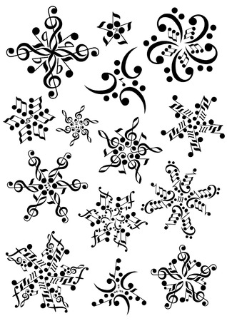 Illustration for snowflake notes - Royalty Free Image