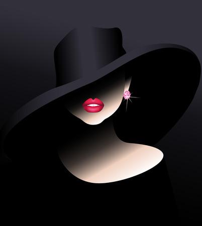 Illustration pour Sensual girl in a hat with a diamond - image libre de droit