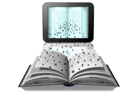 Foto de Letters break away from book pages to go to the tablet, e-book - Imagen libre de derechos