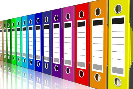Photo pour Collection of folders of various colors for the classification of documents. Database. - image libre de droit