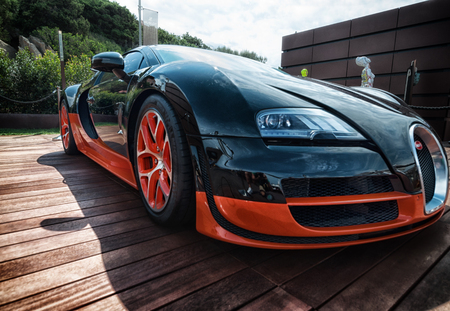 Photo pour Italy august 2018 - Bugatti Veyron super car on display at Porto Cervo in Sardinia. The Bugatti is a French car manufacturer, notably for its sports cars - image libre de droit