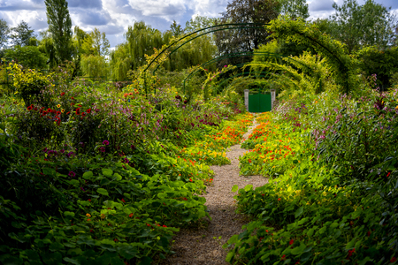 Photo for Giverny: Alley of Flowers in Monet's Garden in Giverny, Normandy, France - Royalty Free Image