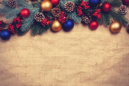 Foto de Christmas gifts and pine branches. - Imagen libre de derechos
