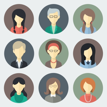 Illustration for Colorful Female Faces Circle Icons Set in Trendy Flat Style - Royalty Free Image