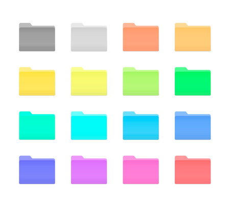 Ilustración de Colorful Bright Folder Icons Set in OS X Yosemite Style. Isolated on white. - Imagen libre de derechos