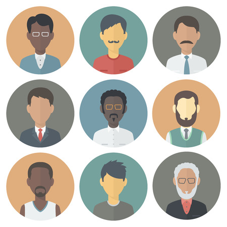 Illustration pour Colorful Circle Icons Set of Persons Male Different Nationality in Trendy Flat Style - image libre de droit