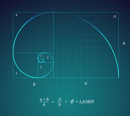 Illustration for A Glowing Scheme of the Golden Ratio on Dark Blue Background with a Mathematical Formula - Royalty Free Image