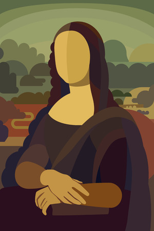 Illustrazione per Stylized Painting Mona Lisa in Simple Flat Style - Conceptual Illustration - Immagini Royalty Free